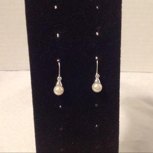 Silver Tone Petite Pearl Earrings